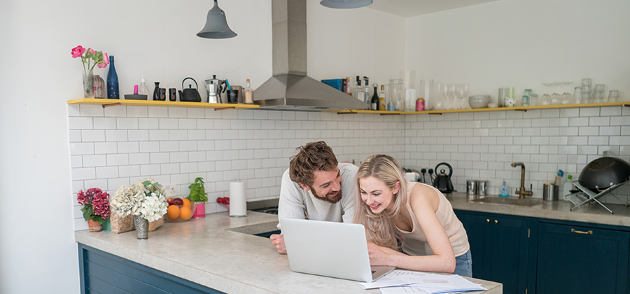 Young couple looking at finances
