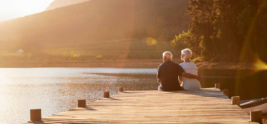 Retired couple on a dock